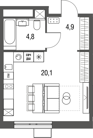Студия, 29.8 м²