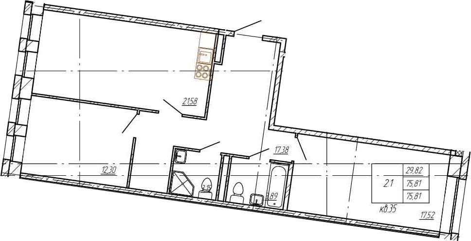 3Е-к.кв, 75.81 м²