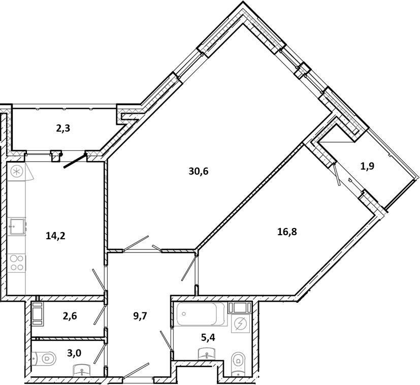 2-к.кв, 90.7 м²