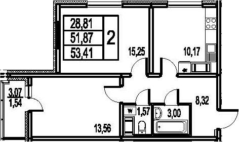 2-к.кв, 54.95 м²