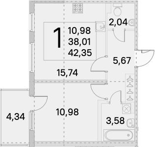2Е-к.кв, 39.31 м²