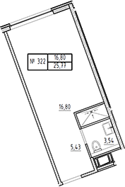 Студия, 25.77 м²– 2