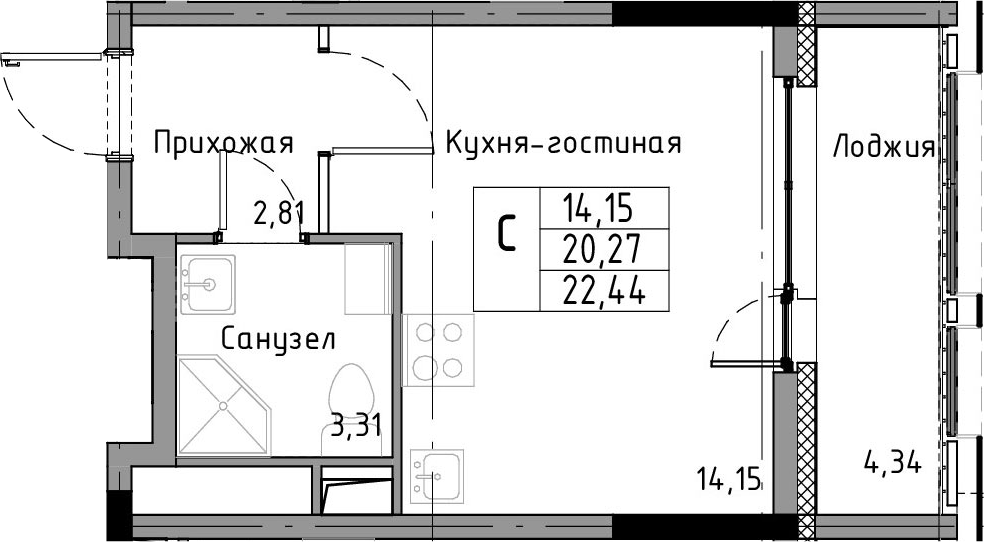 Студия, 22.44 м²– 2