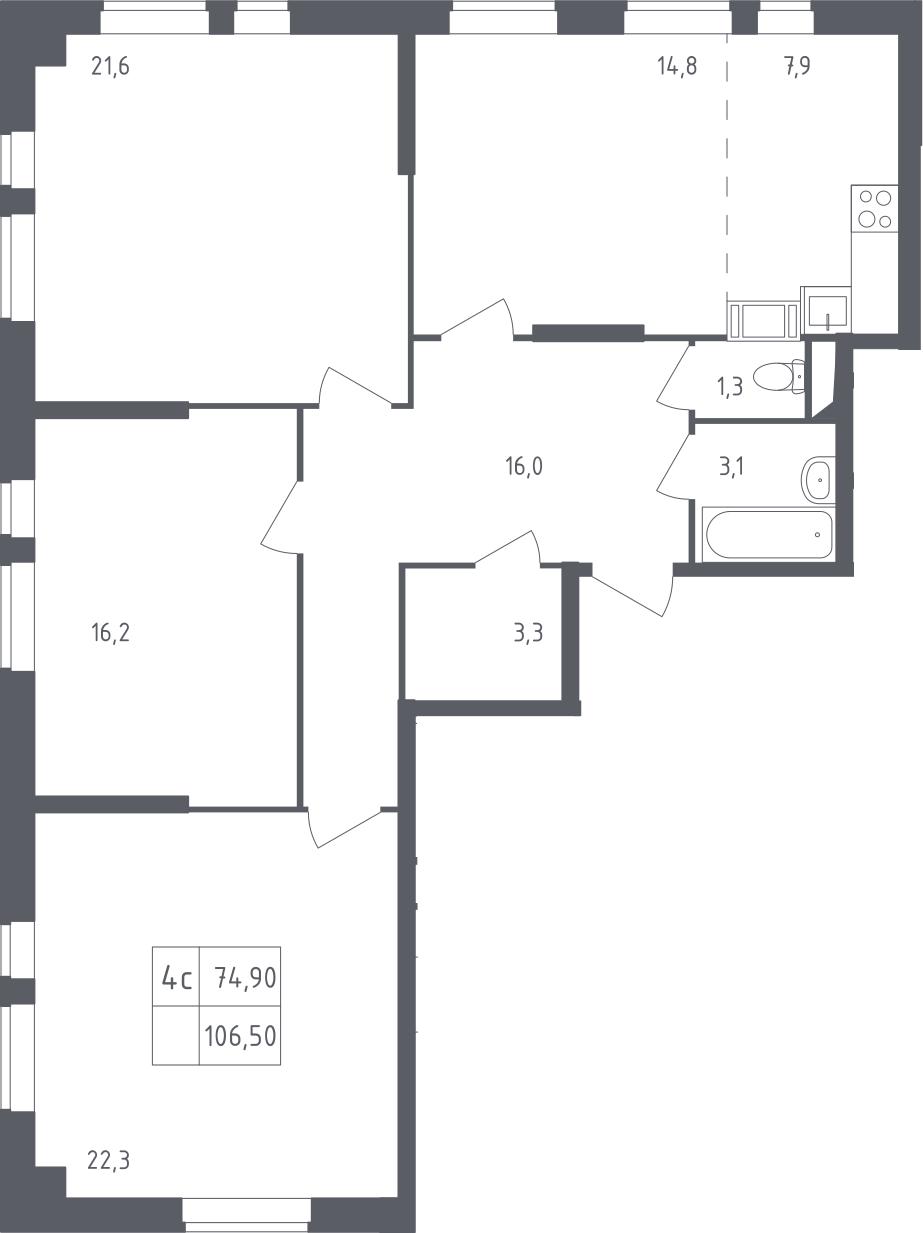 4Е-к.кв, 106.5 м²
