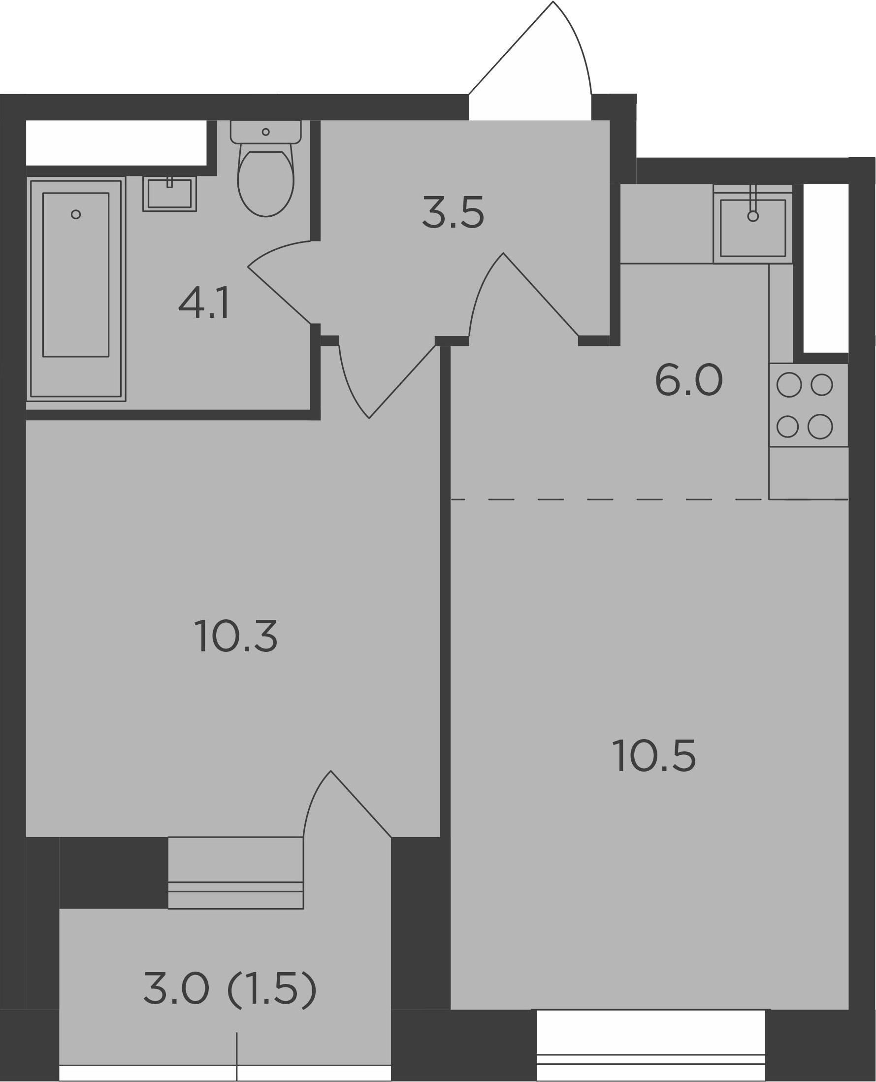 2Е-к.кв, 35.9 м², 14 этаж