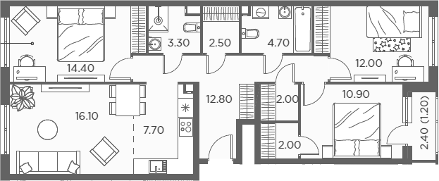 4Е-к.кв, 89.6 м²