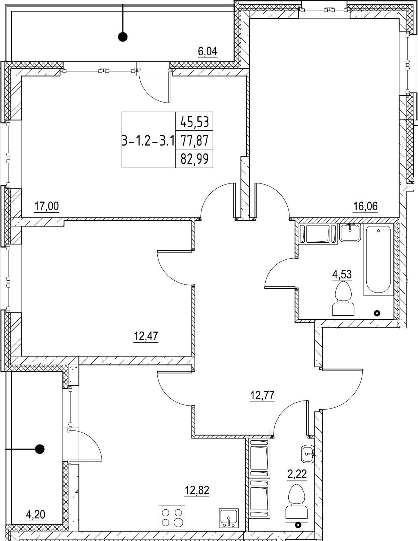 3-к.кв, 82.99 м²