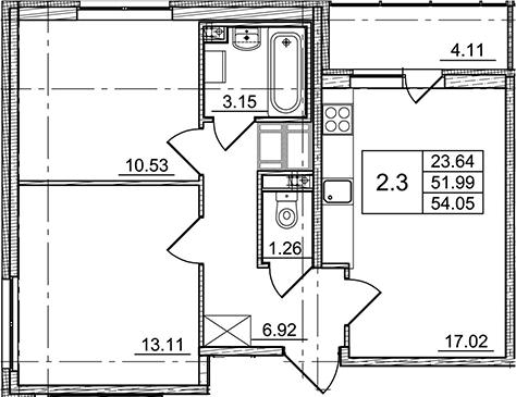 3Е-к.кв, 51.99 м²