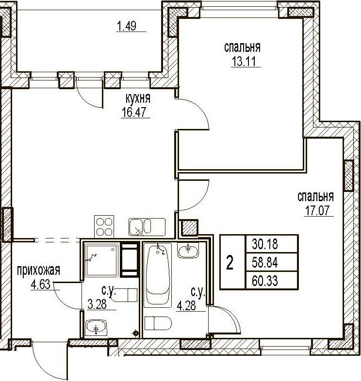 2-комнатная, 60.33 м²– 2