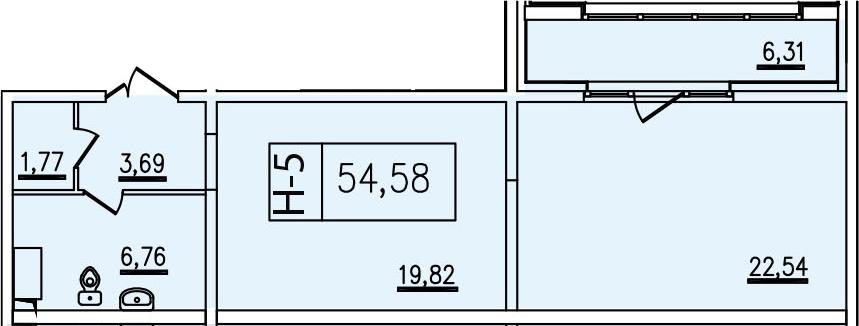 2-к.кв, 54.58 м², от 4 этажа