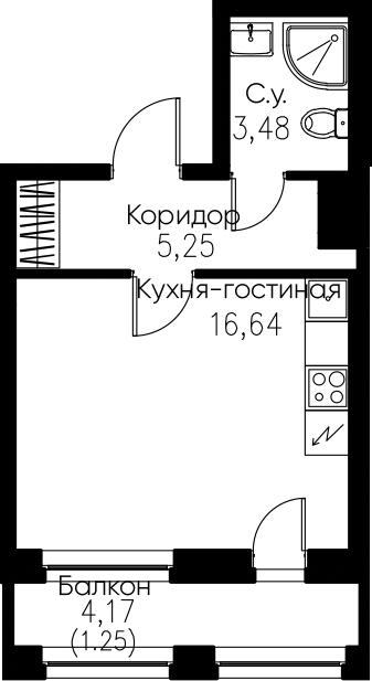 Студия, 26.62 м²– 2