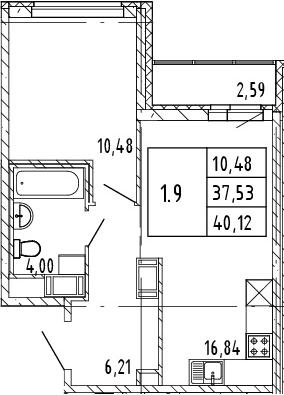 2Е-комнатная, 40.12 м²– 2
