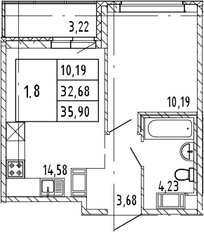 2Е-комнатная, 35.9 м²– 2