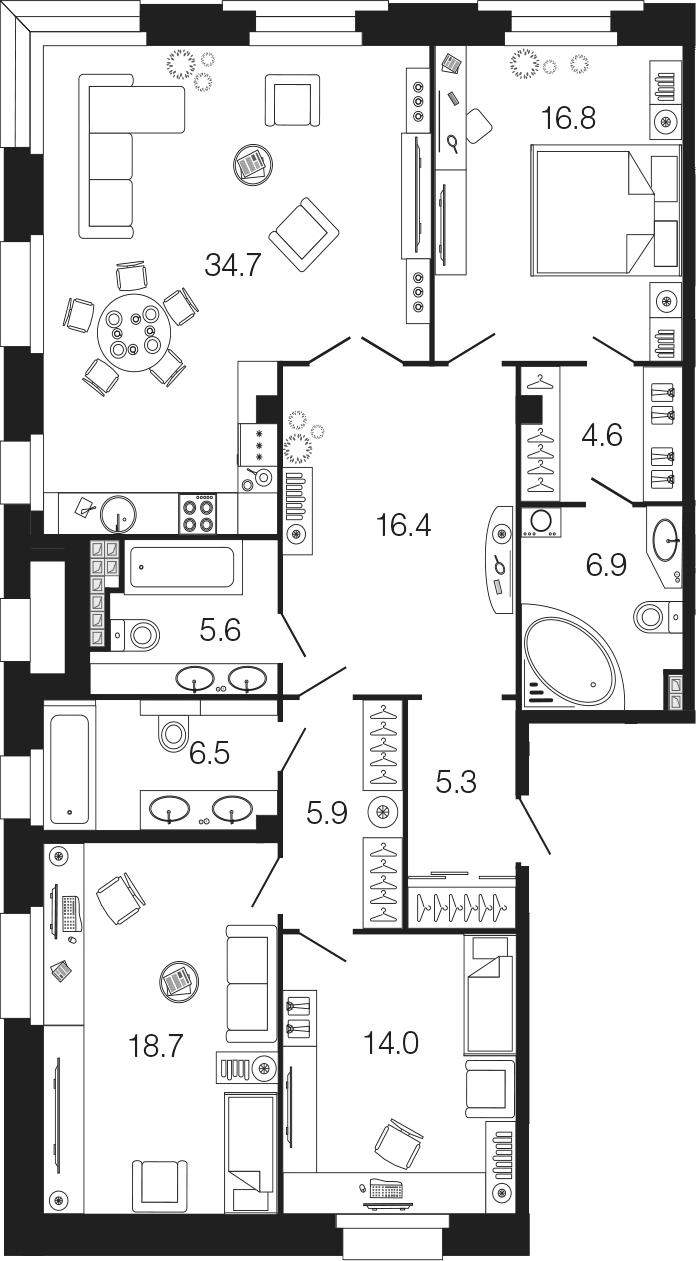 4Е-комнатная, 135.4 м²– 2