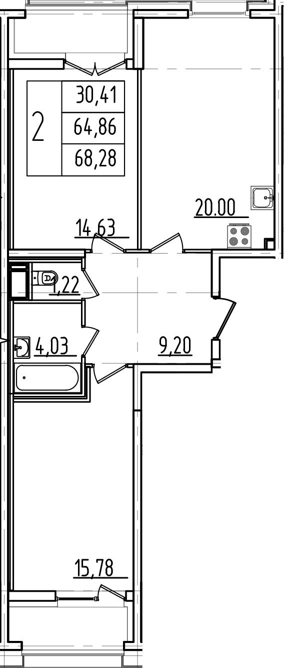 3Е-комнатная квартира, 68.28 м², 3 этаж – Планировка