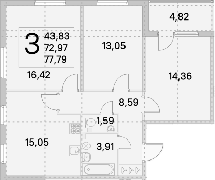 4Е-к.кв, 75.38 м², 1 этаж