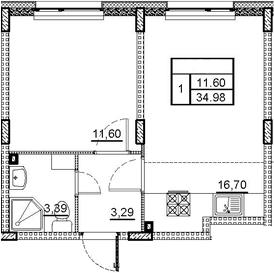 2Е-комнатная квартира, 34.98 м², 1 этаж – Планировка
