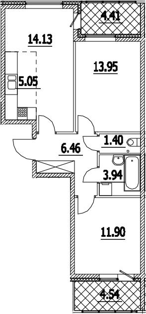 3Е-комнатная, 61.31 м²– 2
