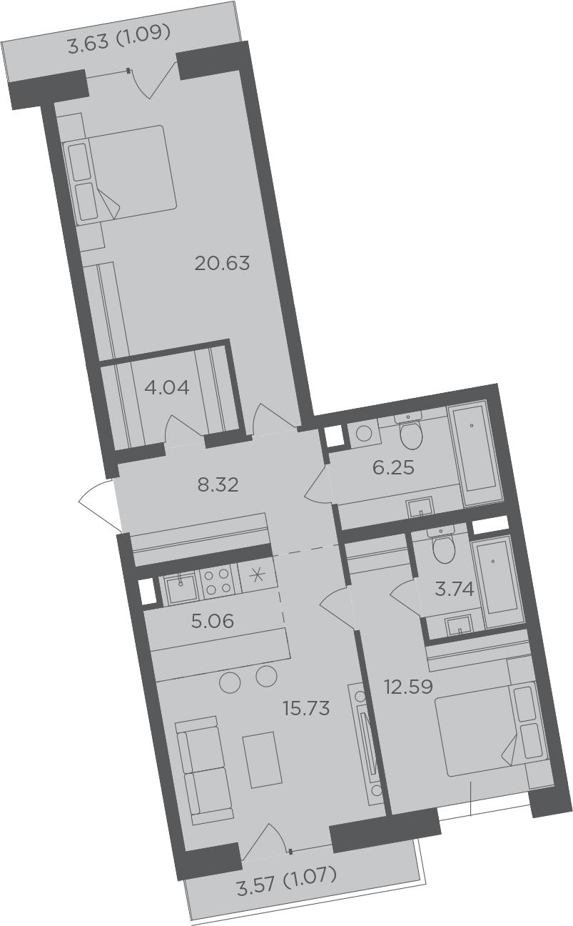 3Е-к.кв, 78.52 м², 11 этаж