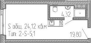 Студия, 24.12 м², от 15 этажа