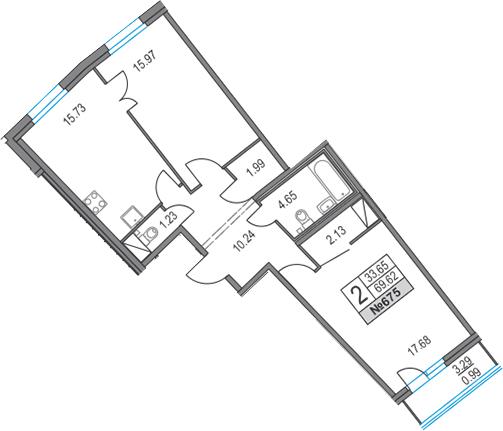 3Е-к.кв, 69.62 м², 13 этаж