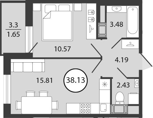 2Е-к.кв, 38.13 м², 2 этаж