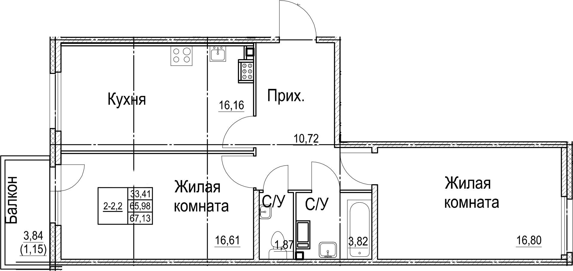 2-к.кв, 67.13 м², 6 этаж