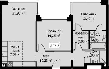 3-к.кв (евро), 78.13 м²