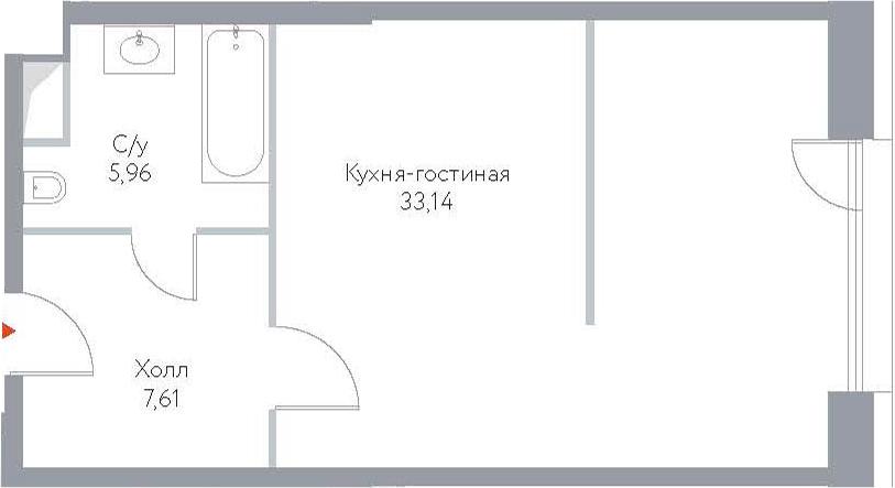 Студия, 46.71 м²