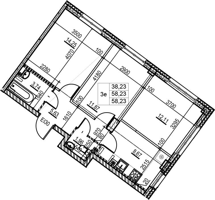 3Е-комнатная, 58.23 м²– 2