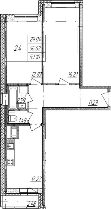2-комнатная, 56.62 м²– 2