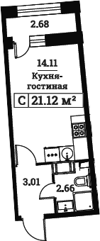 Студия, 21.12 м²