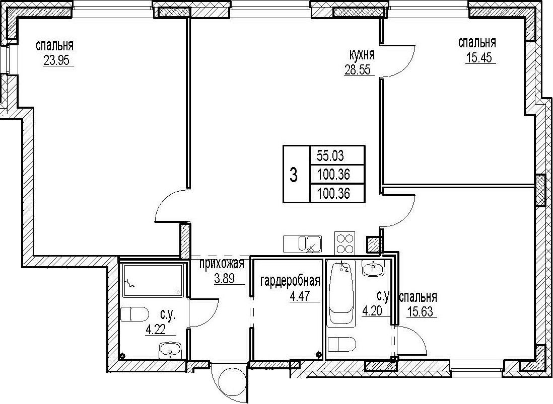 3-комнатная, 100.36 м²– 2