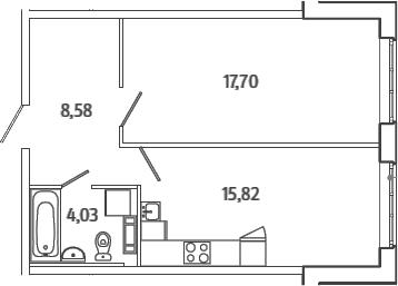2Е-комнатная, 46.13 м²– 2