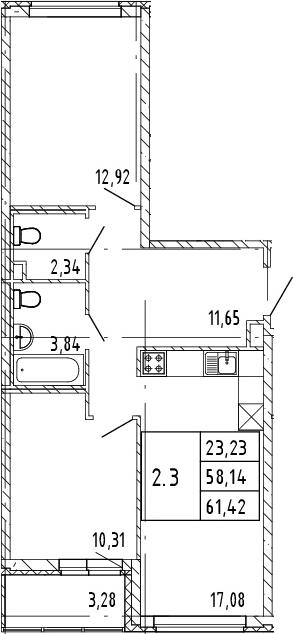 3Е-к.кв, 61.42 м²