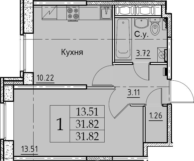 1-к.кв, 31.82 м², 1 этаж