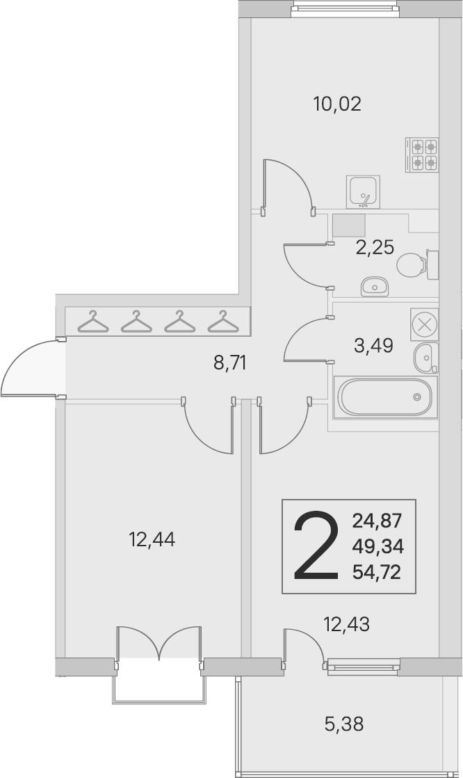 2-комнатная, 49.34 м²– 2