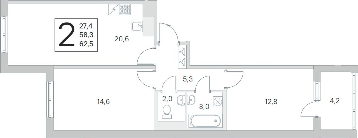 3Е-комнатная, 58.3 м²– 2