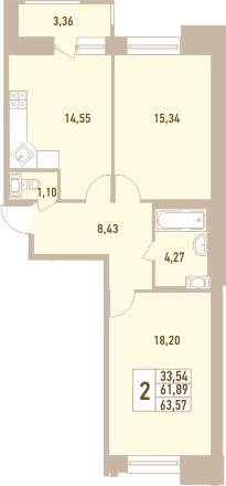 2-к.кв, 63.57 м²