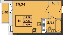 Студия, 29.68 м²