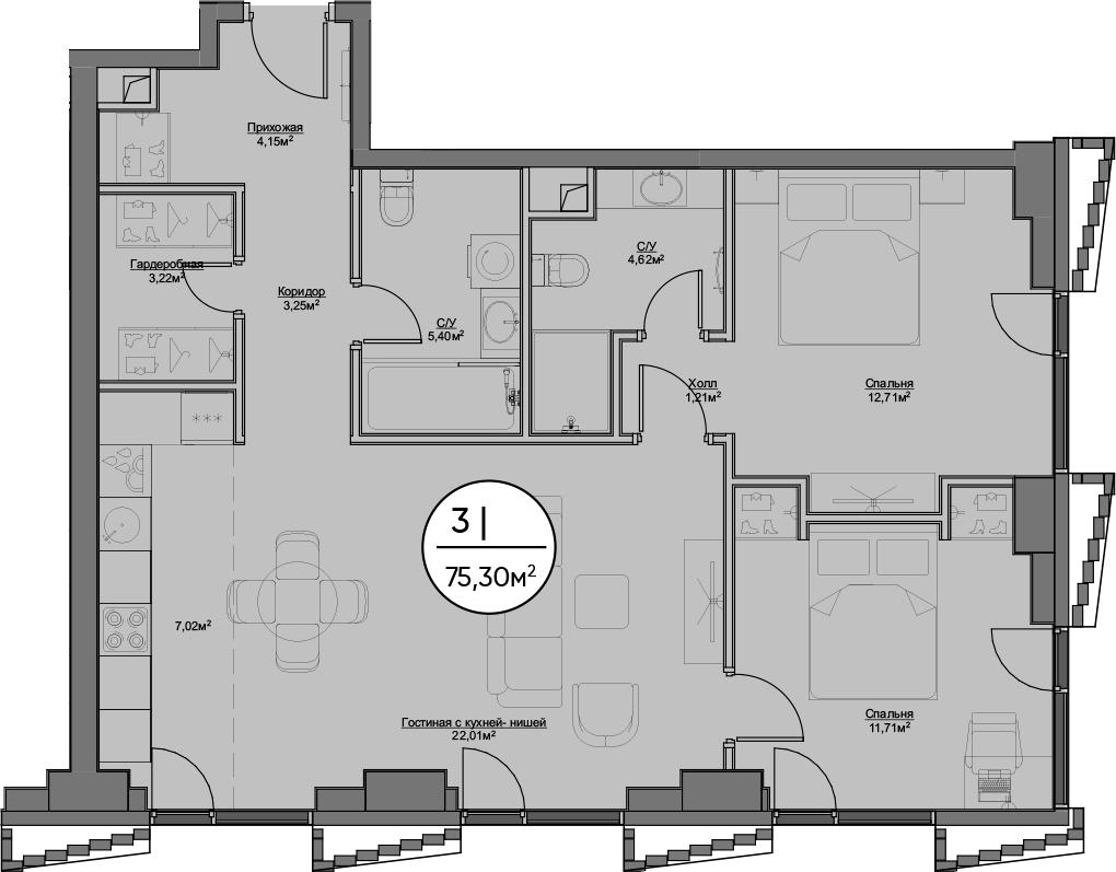 3Е-к.кв, 75.3 м²