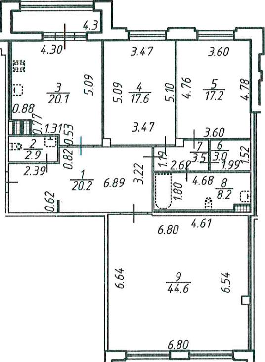 3-к.кв, 140.03 м²