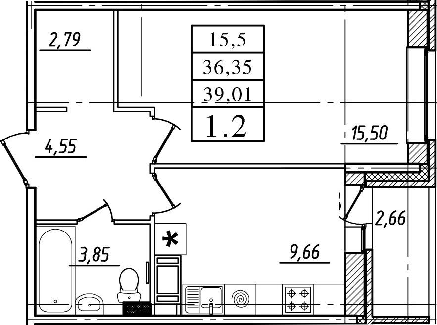 1-к.кв, 36.35 м², 5 этаж