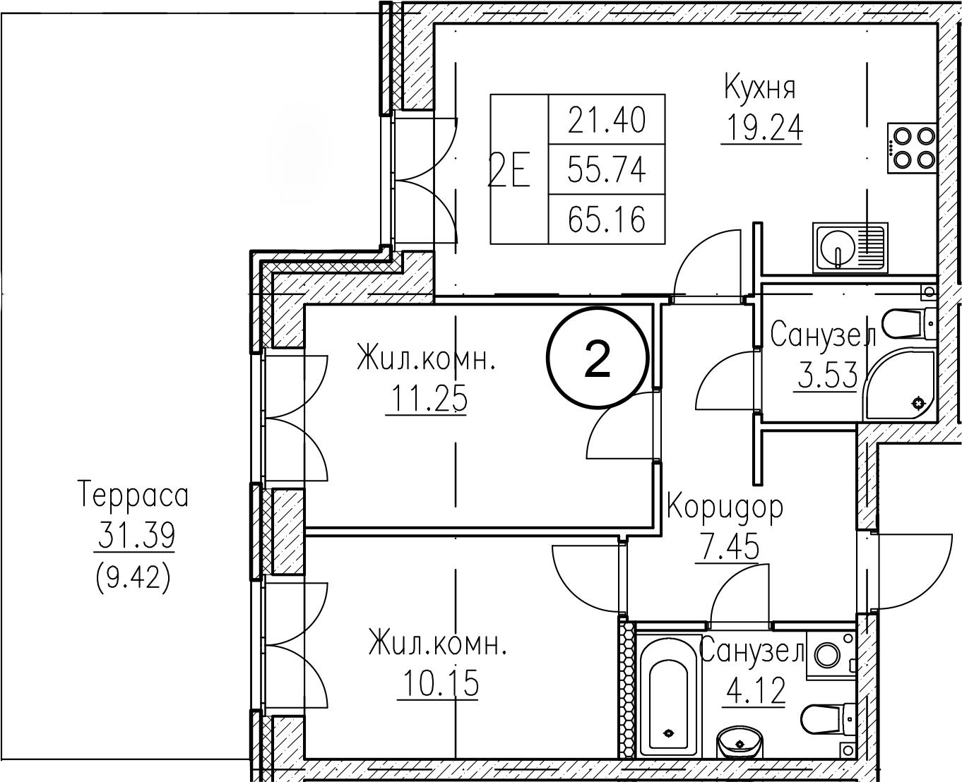 2-к.кв, 87.14 м²