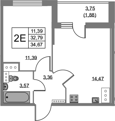 2Е-к.кв, 34.67 м², от 12 этажа