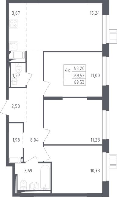 4Е-к.кв, 69.53 м², 12 этаж