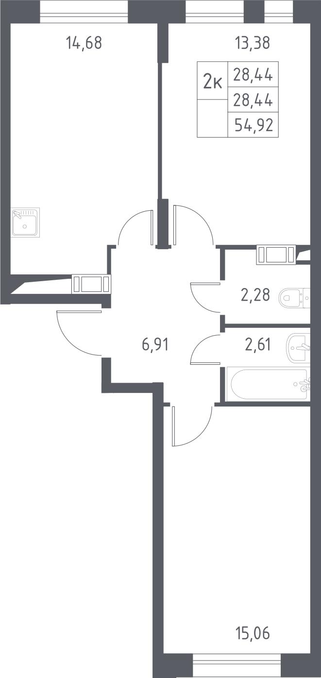2-комнатная, 54.92 м²– 2