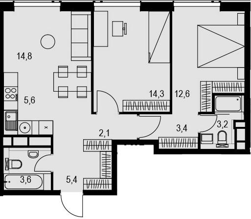 3Е-к.кв, 65 м², 23 этаж