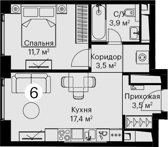 2Е-комнатная, 40 м²– 2