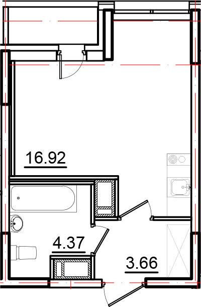 Студия, 26.07 м², 10 этаж